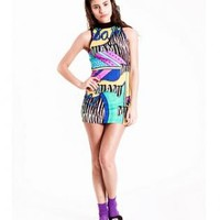 Miami 80s Halter Dress