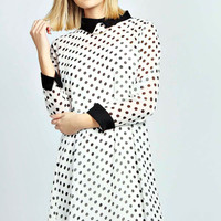 Rhia Long Sleeve Spot Print Collar Shift Dress