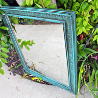 Turquoise Mirror accented w/ Dark Walnut Stain  by AquaXpressions