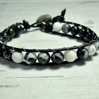 Leather Beaded Mens Bracelet, Black White Bead Bracelet, Unisex Leather Bracelet