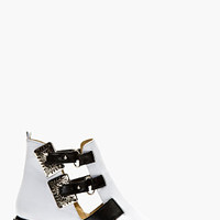 White Leather Carved Hardware Ankle Boots