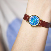 Tiny women's wrist watch gold plated watch marine blue face watch premium leather strap new