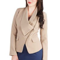 ModCloth Menswear Inspired Short Length Long Sleeve Milan a Roll Blazer in Beige
