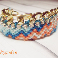 Rhinestone Embellished Friendship Bracelet - Statement Jewelry - by Lynnlen