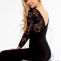 Black Lace Sleeve V Back Jumpsuit