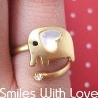 Adjustable Elephant Ring in Gold with Heart Shaped Ears | smileswithlove - Jewelry on ArtFire