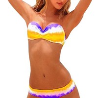 Hot Sale Women's Sexy Yellow White Purple To Mix Bikini 2 Pcs Strapless Swimsuit