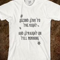Second Star To The Right And Straight On Till Morning - Whimsical Peter Pan Quote T Shirt - Tops / clothes for women, men and kids