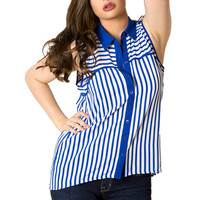 Blurred Lines Top in Royal Blue | MACA Clothe
