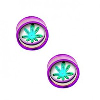 Light Purple Plug Double Flare With Pot Leaf Disc For Internally Threaded Plugs - Sold as a Pair