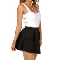 White Bar Side Crop Top