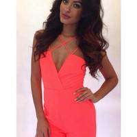 Coral Cross Front Jumpsuit