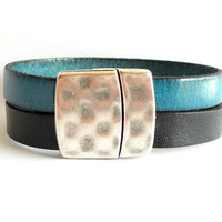 Black and Teal Blue Double Strand Leather Cuff Bangle