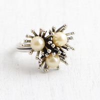 Vintage Sterling Silver Faux Pearl Ring - Retro Hallmarked Beau Adjustable Spray Cluster Modernist Jewelry