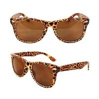 MLC Eyewear 1889-BNLEOBN Wayfarer Fashion Sunglasses Brown Leopard Frame Brown Lenses for Women and Men
