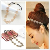 Fashionwu Ladies'1pc Pretty Elastic Hollow Rose Women Flower Metallic Hair Band Headband
