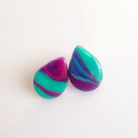 Marbled Teardrop Stud Earrings {Jade, Pink and Purple, Polymer Clay}