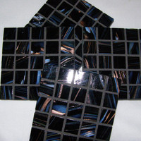 Black Glass Coasters, Trivets, Black Decor,  Housewarming, Mother's Day, Hostess Gift, Home Decor, Mosaic, Unisex gift