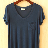 Perfectly Imperfect One-Pocket Shabby Tee, Midnight Blue