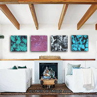 Large Wall Art, 4 square panel ( 15 Inch Square) ORIGINAL Abstract Painting-  Black, Gray, Mauve,White, Teal, Turquoise
