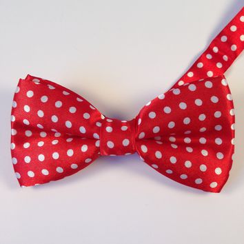 Bright Red Polka Dot Bow Tie