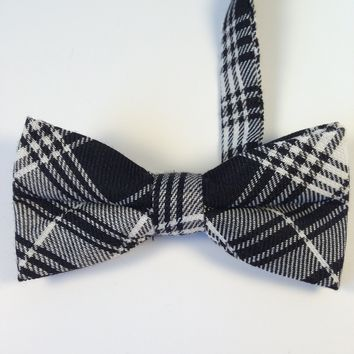 Black & Gray Striped Bow Tie