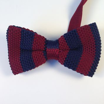 Maroon & Navy Striped Knit Bow Tie
