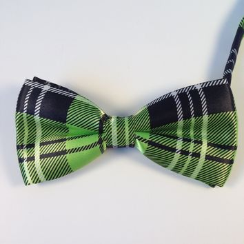 Lime Green Striped Bow Tie