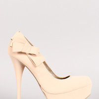 Qupid Neutral-445 Nubuck Bow Stiletto Platform Pump