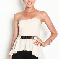 STRAPLESS GOLD PLATE PEPLUM TOP