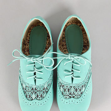 Rosy-2 Lace Round Toe Oxford Flat