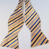 Curry Silver Blue Striped Bow Tie