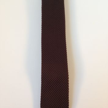 Brown Narrow Knit Tie