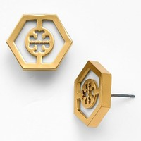 Tory Burch 'Caroline' Logo Hexagon Stud Earrings | Nordstrom