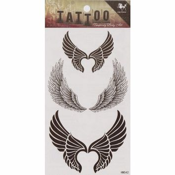 "MagicPieces Temporary Tattoo Fake Tattoo Waterproof Non-toxic Tattoo Sticker with Angelic Wing Pattern Size 3.06""X5.13"""