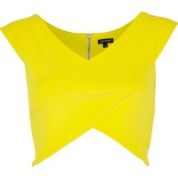 Yellow wrap crop top - crop tops / bralets / bandeau tops - tops - women
