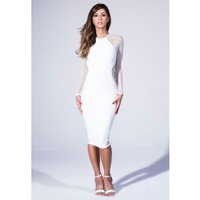 Missguided - Midi Dress With Fishnet Panel In White
