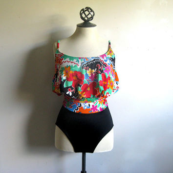 Vintage Sirena 1980s Bodysuit Black Red-Orange Floral 1 Piece Swimsuit 8