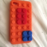 Orange Lego Silicone Skin Cover Case For iPhone 4 4G 4S