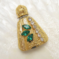 Gilt Overlay Green Rhinestone Perfume Bottle