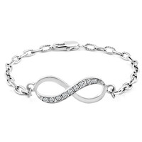 Pugster Jewelry Infinity Clear White Sideways Lobster Bracelet R85