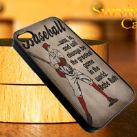 Vintage Baseball Art Babe Ruth Quote iPhone 4 4S iPhone 5 5S 5C and Samsung Galaxy S3 S4 Case