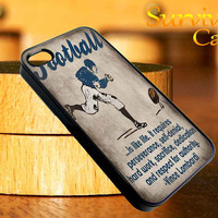 Vintage Football Art Vince Lombardi Quote iPhone 4 4S iPhone 5 5S 5C and Samsung Galaxy S3 S4 Case