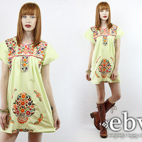 Pale Green Mexican Dress Embroidered Dress Hippie Dress Hippy Dress Boho Dress Festival Dress Vintage 70s Embroidered Mini Dress S M