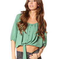 Papaya Clothing Online :: KNOT FRONT SHIRRED NECK TOP