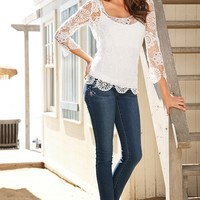 Boston Proper Embellished ankle jean