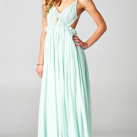 BLOSSOMING CROCHETED BACKLESS MAXI DRESS - PASTEL MINT | PUBLIK | Women's Clothing & Accessories