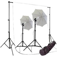 CowboyStudio - 550W Photography Studio Lighting kit, Backdrop Support, 10 x 12ft White Backdrop - Black