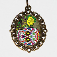 Sugar Skull Necklace Oval Pendant