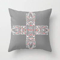 Pocatiki Tribe Throw Pillow by Tiki